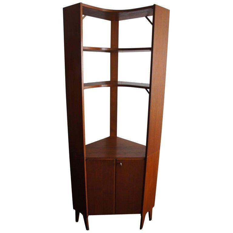 Mid Century Modern Scandinavian Design Corner Cabinet Bookcase Or Stereo Cabinet Stereo Cabinet Mid Century Design Modern Bookcase