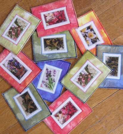 Fabric Postcards with Packing Tape Transfers