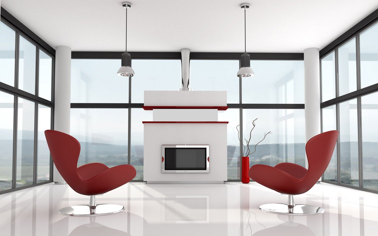 Futuristic Style Living Room In White And Red Colors With Twin Comfy Leather Lounge Egg