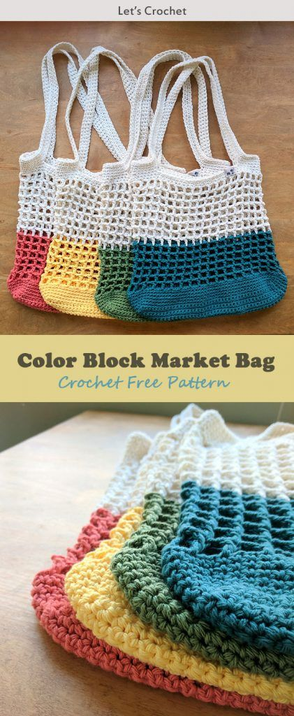 Color Block Market Bag Crochet Free Pattern #crochet