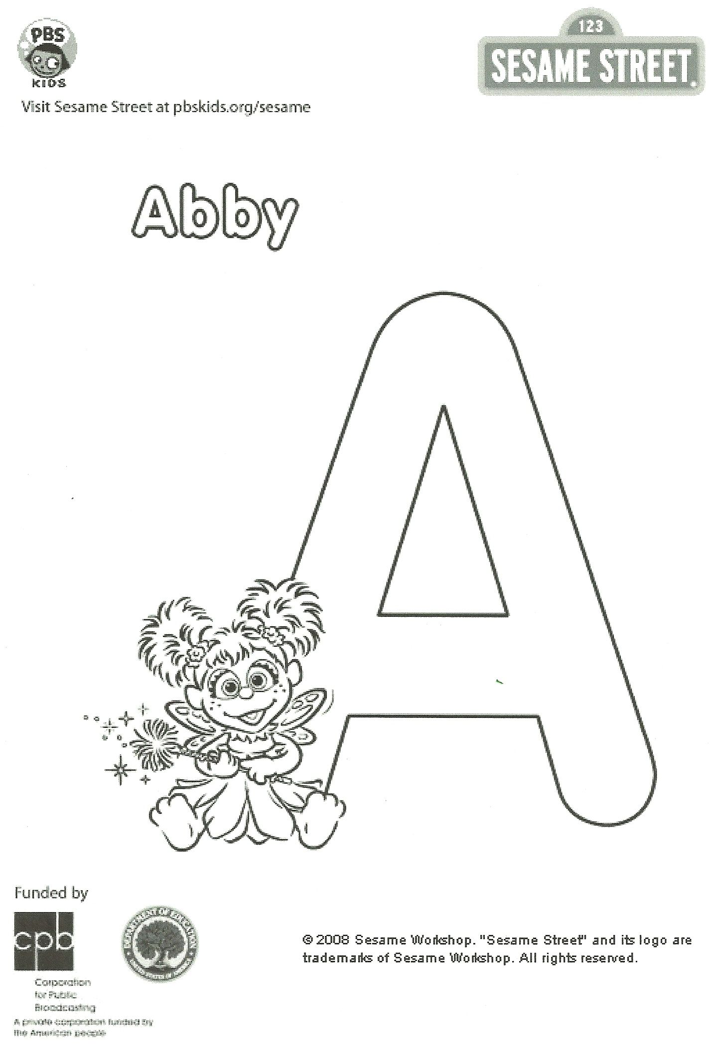 Abby Cadabby Coloring Page | E is for Elmo b is for big bird ...