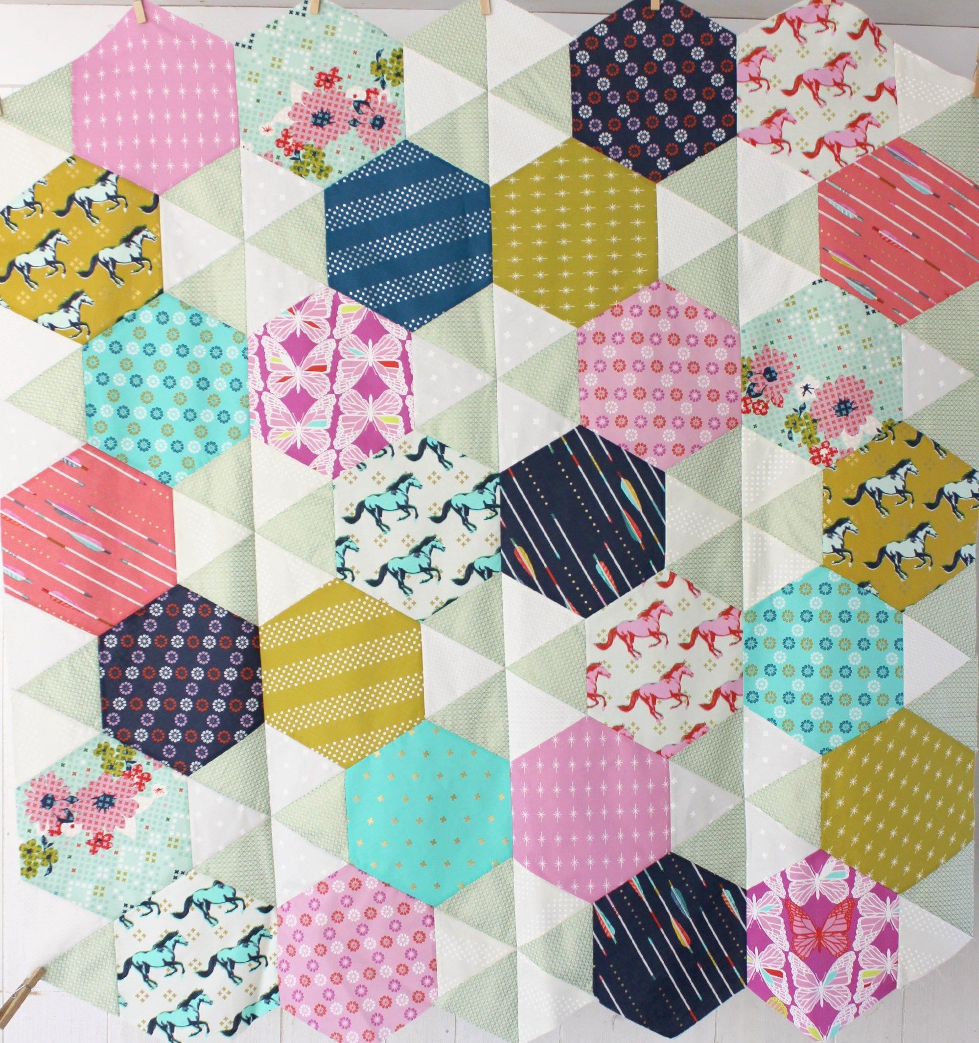 Babys first dorm quilt hexagon quilt quilt making