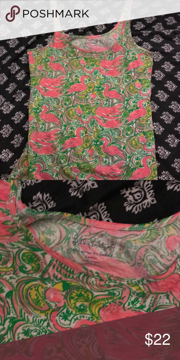 """Lilly pulitzer top size large Super cute Lilly pulitzer top in print """" hot wings"""" Lilly Pulitzer Tops"""