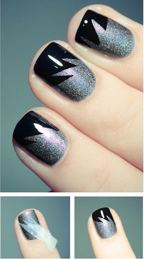 Black And Silver Party Nail Art Idea Nail Art Ideas For Nail Art