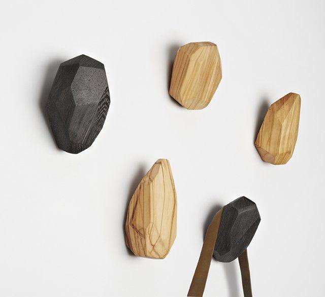 Stone Wood Wall Hook Wooden Wall Hooks Slow Design Wood Hangers