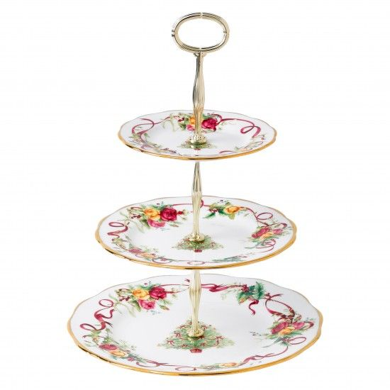 Old Country Roses Christmas Tree 3 Tier Cake Stand Discontinued Tiered Cake Stand Country Roses Tiered Cakes
