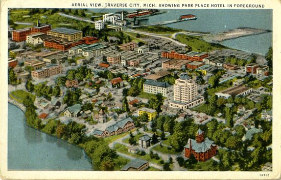 Aerial View Traverse City Mich Showing Park Place Hotel In Foreground Aerial View Hotel Place Aerial