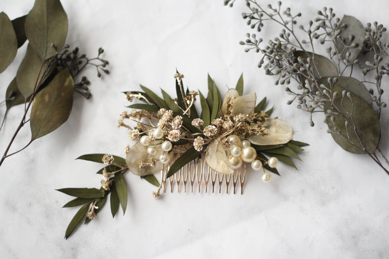 Eucalyptus Hair comb greenery gold Bridal comb pearl flower   Etsy ...