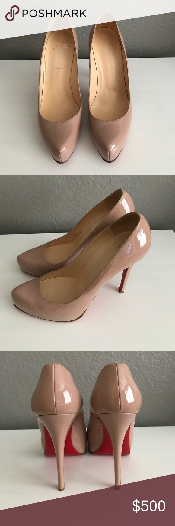 09f349aac20 Christian Louboutin nude patent leather heels Size 41 1/2 (I wear ...