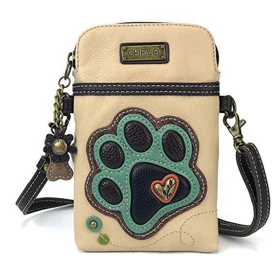 Chala Crossbody Cell Phone Purse - Women PU Leather Multicolor Handbag with  Adjustable Strap (Ivory- Teal Paw Print) c100a59428