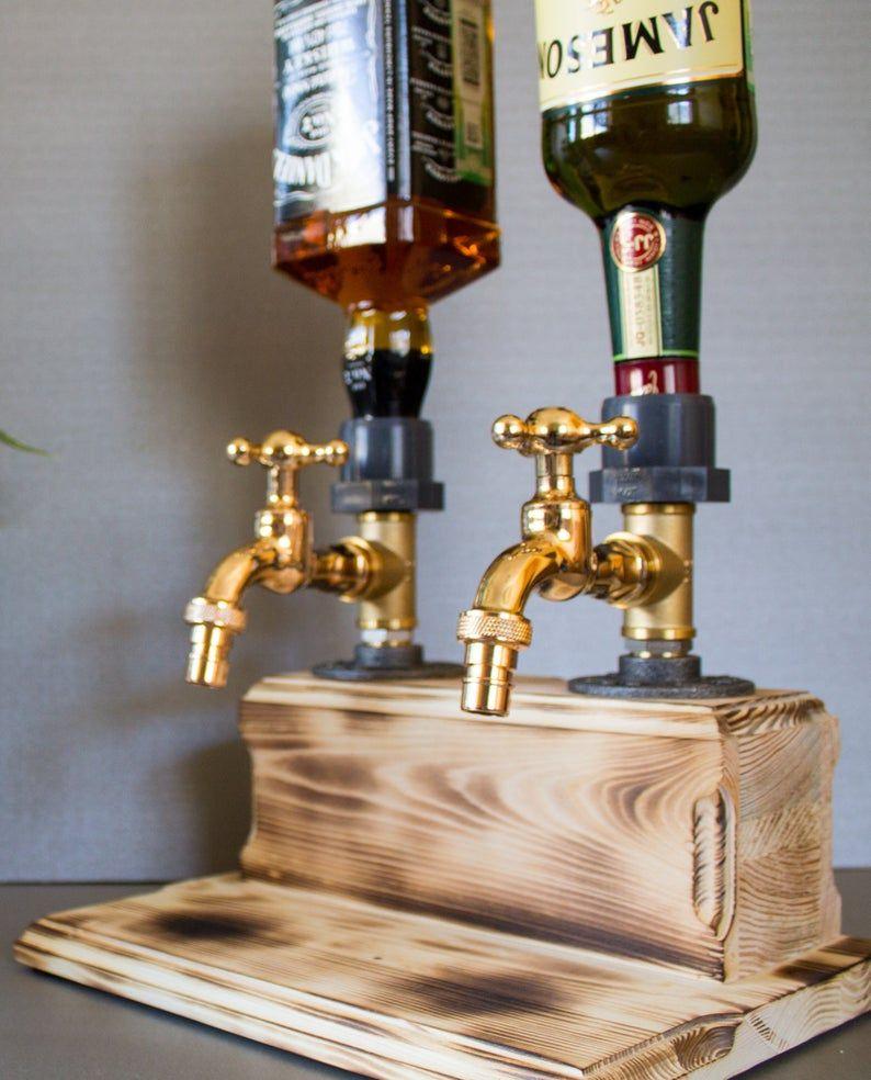 Double liquor alcohol whiskey wood dispenser gift for him