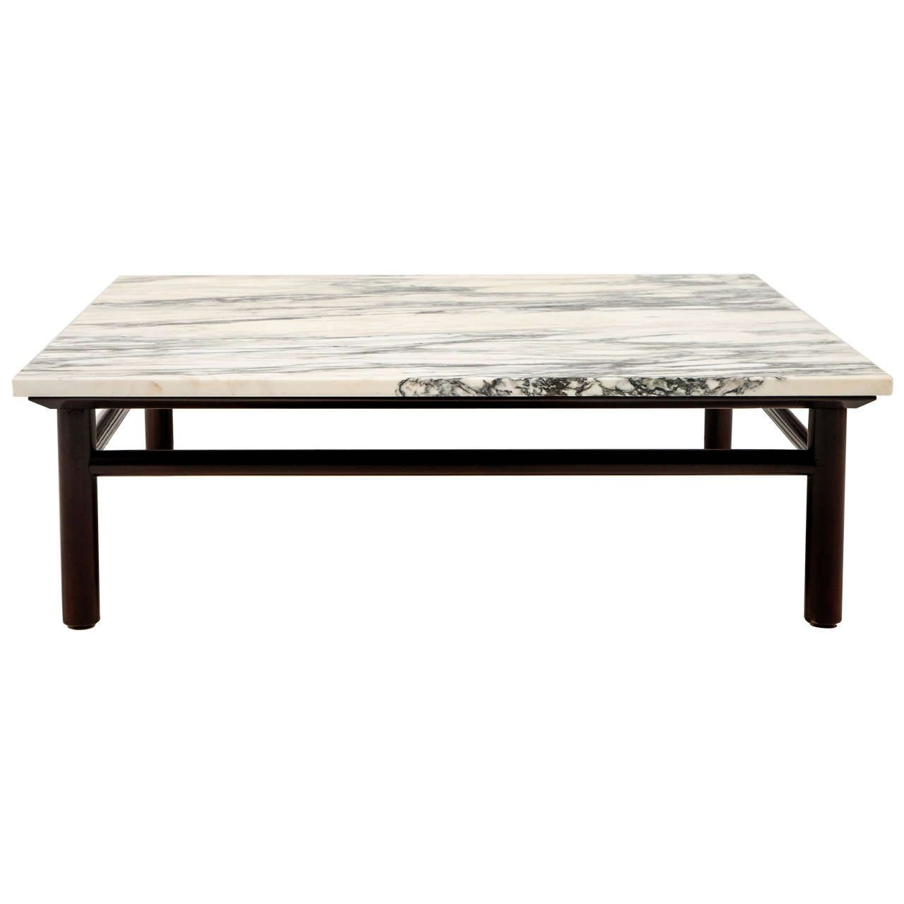 Robsjohn Gibbings Walnut And Marble Coffee Table For Sale