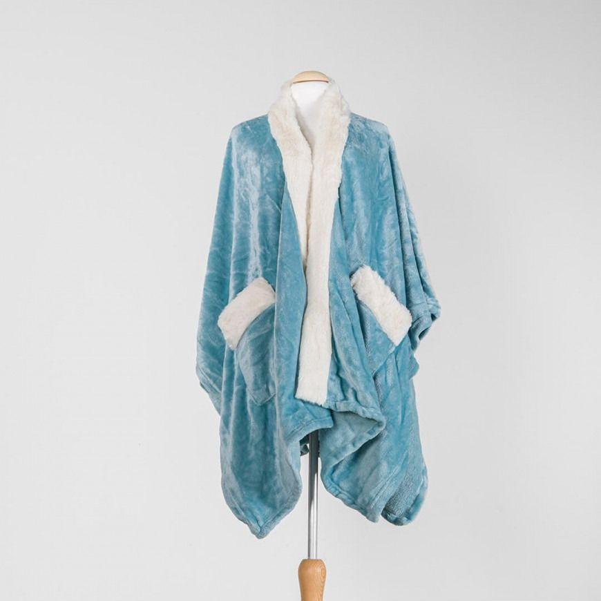 كارديغان قطيفة دافيء لون سماوي Blankets Throws Blanket Fashion