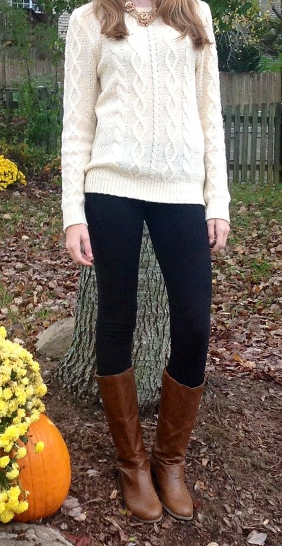 Cozy knit, statement necklace, black leggings, and riding boots ...