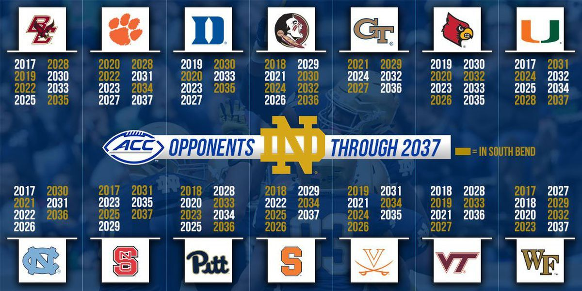 2019 Notre Dame Football Schedule Image result for notre dame acc football schedule 2018 | P5   ACC