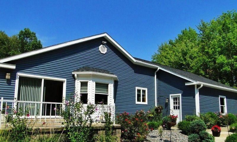 Slate Blue Ranch Exterior Color House Paint Exterior Ranch Exterior Ranch House