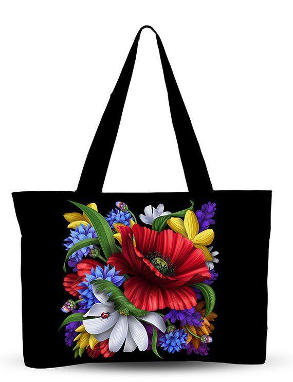 Flowers Printed Bag Black Floral Handbag Floral Tote Bag Floral