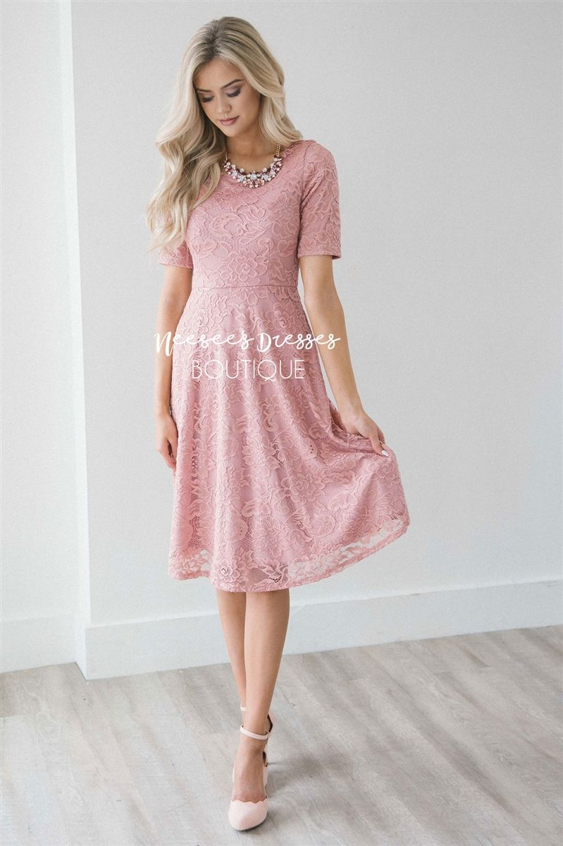 bf697f51c5dff Pretty Mauve Lace Modest Dress | Modest Bridesmaids Dresses with Sleeves | Modest  Dresses and Modest Skirts for Church