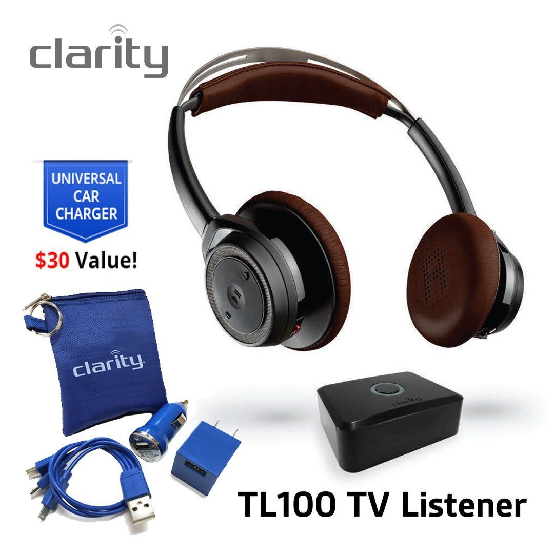 9eee6596ef6 Amazon.com: Clarity TL100 Wireless Bluetooth Over-Ear Sound Amplifying Headphones  Headset For Hearing Impaired Solo TV Listening with Clarity Home Car ...