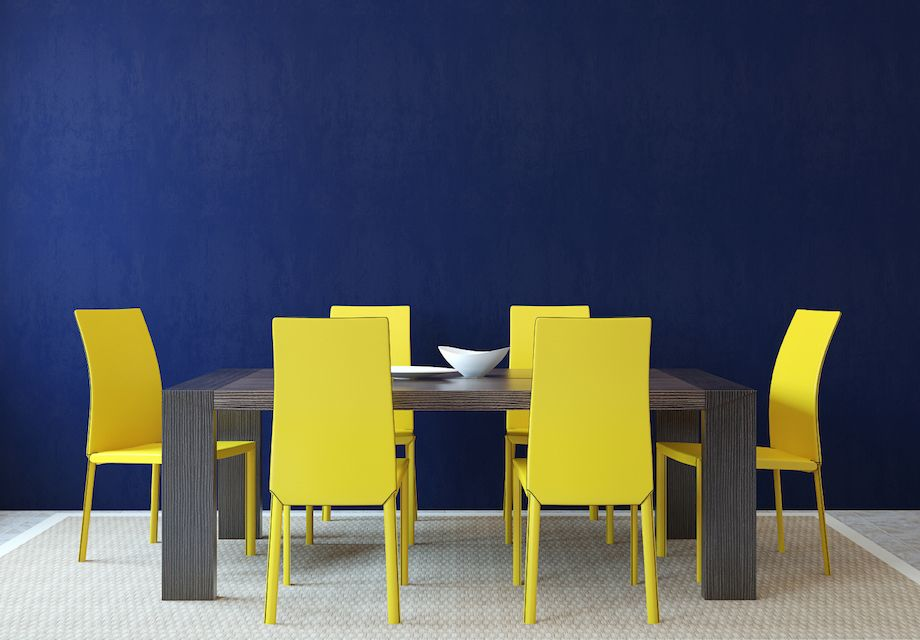 Gorgeous contrast between the bright yellow chairs and the dark blue ...