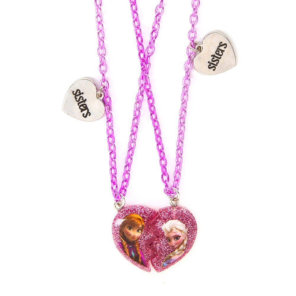 Disney Frozen Half Heart Sisters Pendant Necklaces Set of 2 ...