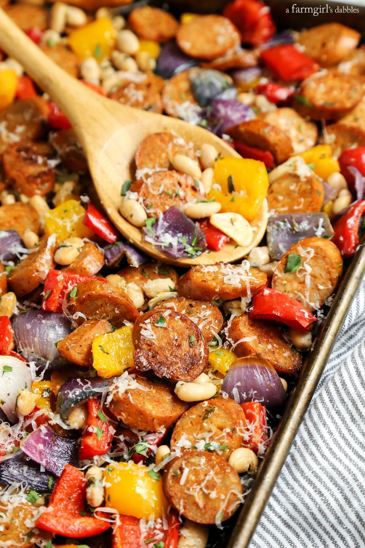 Sheet Pan Italian Chicken Sausage with White Beans and ...