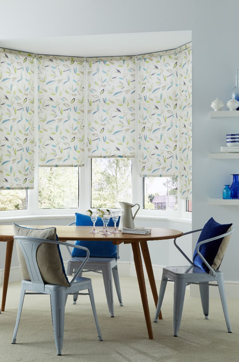 Our Passion Aqua Roller Blind Is Perfect For A Bay Window In Dining Room Or Living Simply Adding Spring Fresh Look Anywhere The Home