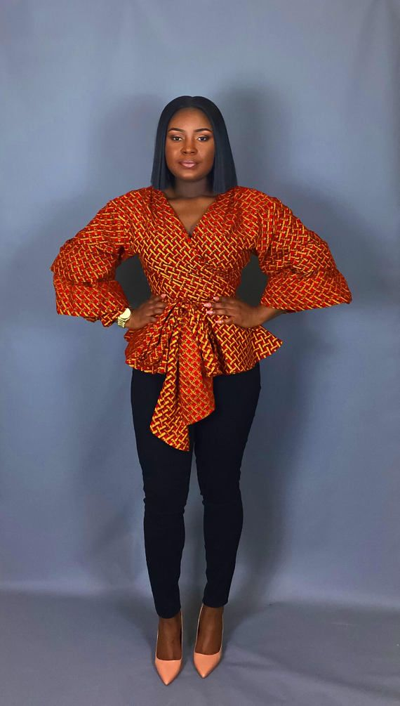 African print oversized sleeve wrap top,African clothing ...