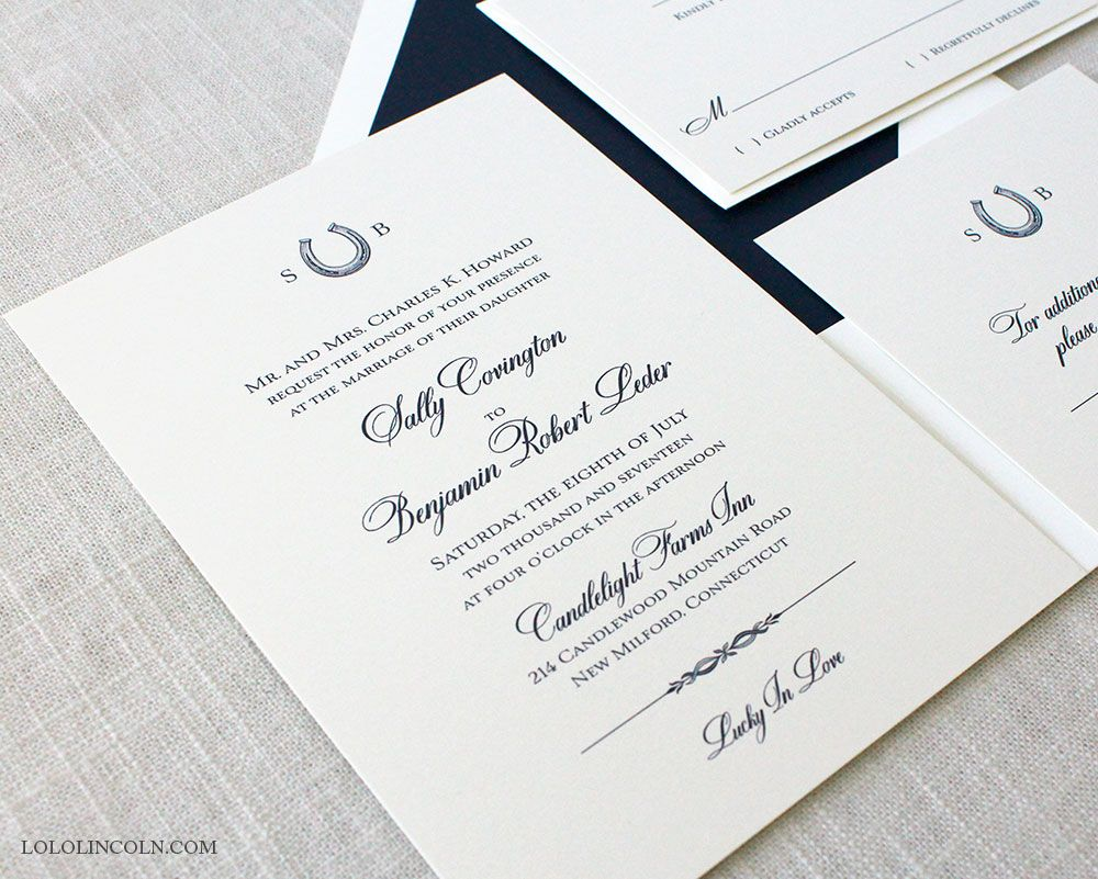 Equestrian themed wedding invitation, shown in navy on natural white ...