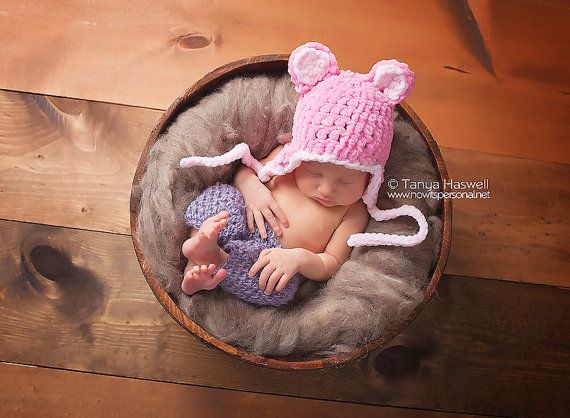 f53ef627ec5 Hand Crochet Baby Hat Ear Flap Teddy Bear Chunky Photography Photo Prop  Newborn-12 Months Ultra Soft Baby Girl UK Seller Pink
