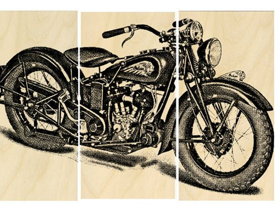vintage indian motorcycle screen print wood painting wall art on solid birch man cave art https. Black Bedroom Furniture Sets. Home Design Ideas