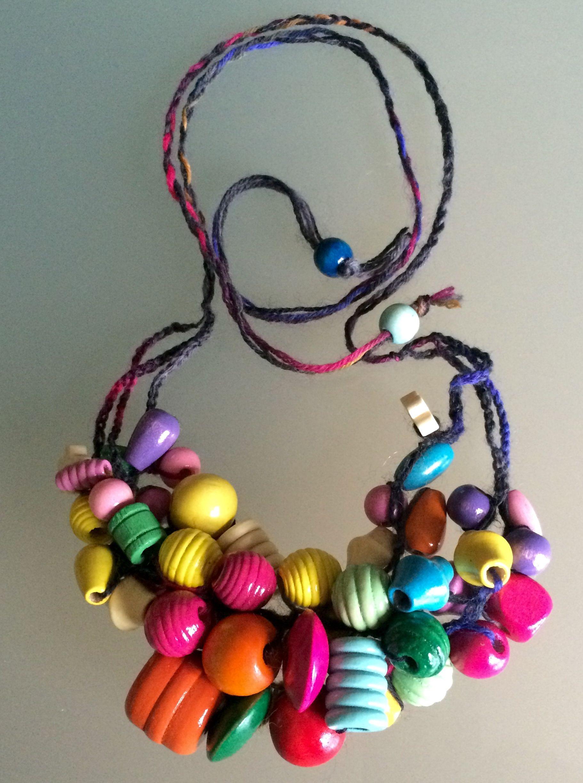 Collana colorata con perle di legno handmade necklace ...
