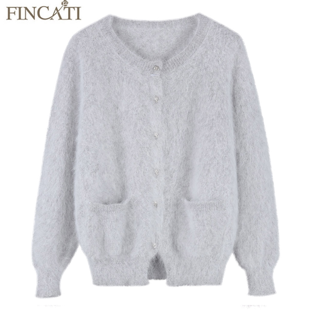 38.52$ Watch more here - Women Fluffy Mink Cashmere Cardigan Brand ...
