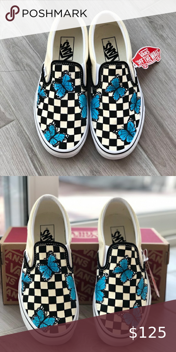 Handpainted Butterfly Checkered Vans in