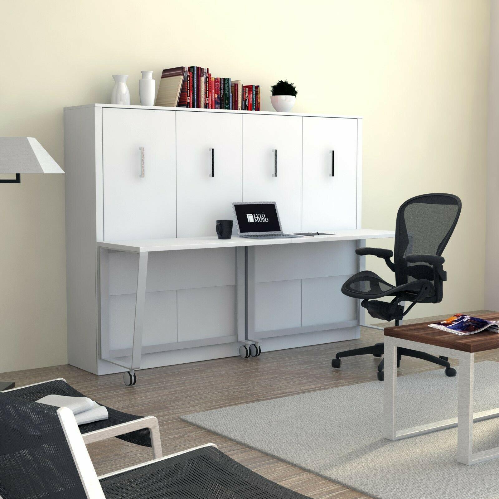 "URBAN LOFT ""ALEXA"" Full Wall Murphy Bed with Desk"