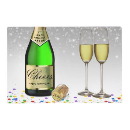 Happy New Year Champagne Bottle Laminated Placemat | Zazzle.com