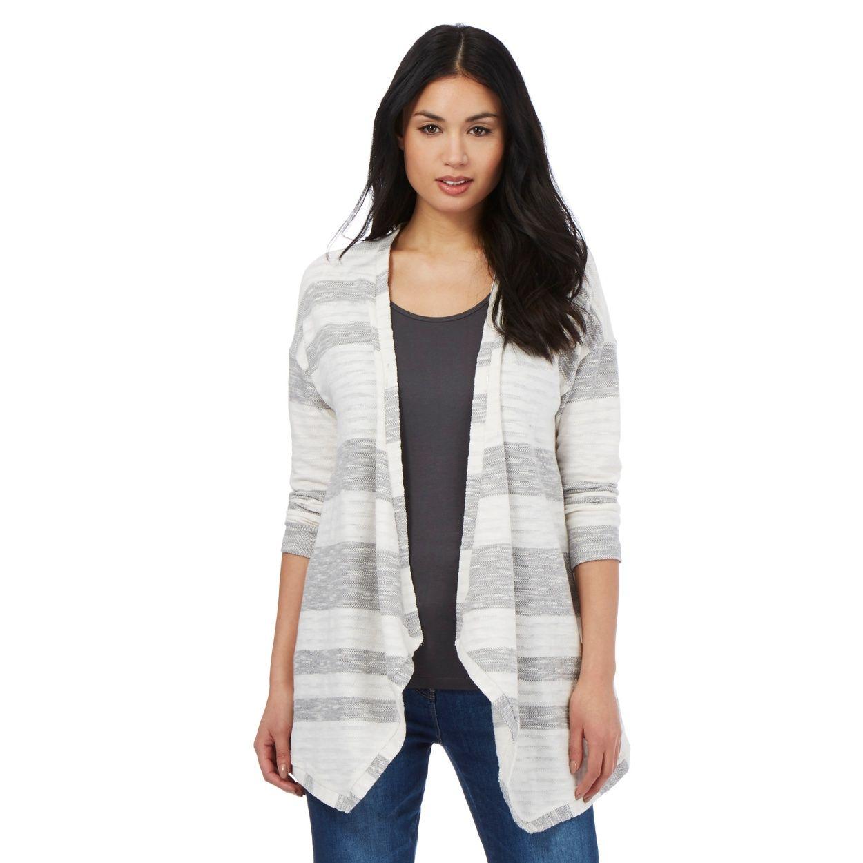 Grey striped waterfall cardigan