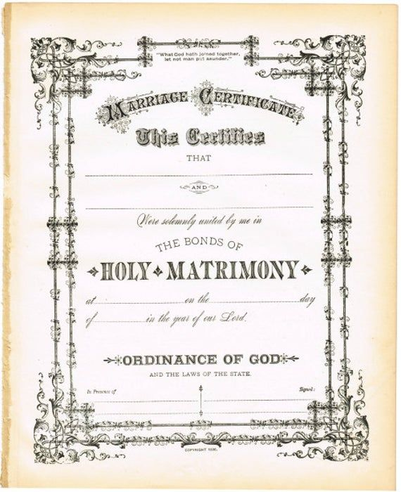 Antique Marriage Wedding Certificate Digital Download For Gift