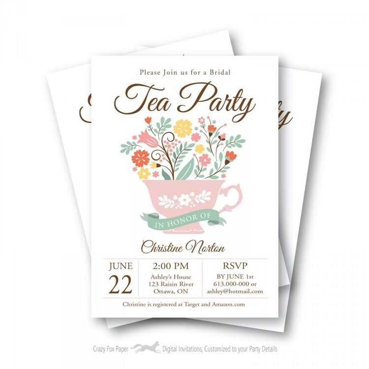 Bridal Tea Party Invitation Template Invitation Ideas Bridal