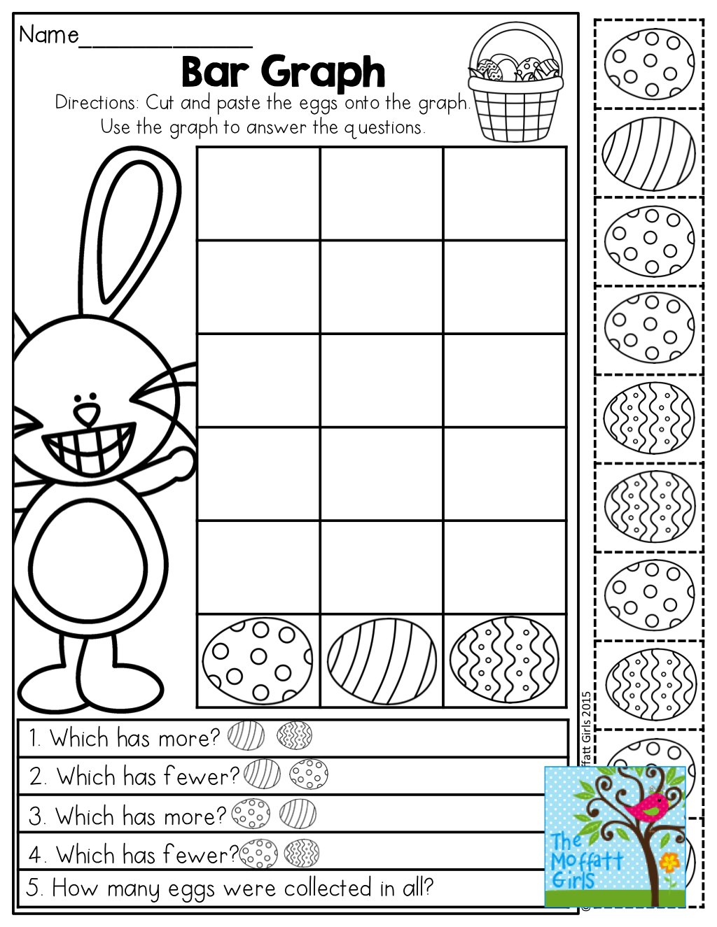 Bar Graphing With Easter Eggs Tons Of Fun Printables In This No Prep Packet Easter Math Worksheets Kindergarten Easter Worksheets Easter Kindergarten