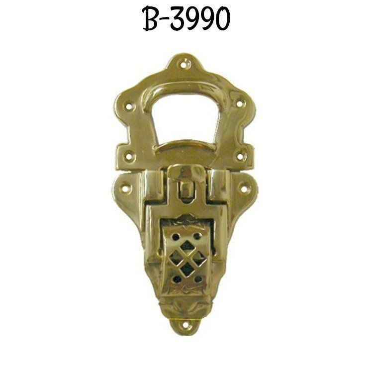 2 TRUNK catch hasp latch suitcase old style BOX heavy solid brass LOCK 85 mm B