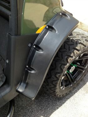 Golf cart fender flares protect passengers and cart from mud and water when off-roading or simply provide a custom look to any golf cart.
