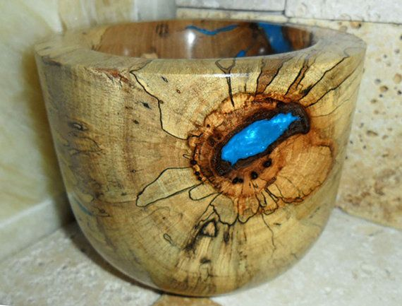 Spalted Wood Bowl Electric Blue Inlay Inlaid Wood Bowl