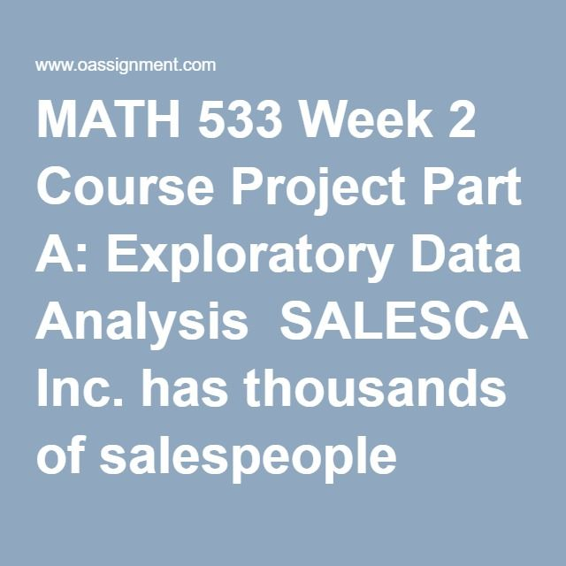 Math  Week  Course Project Part A Exploratory Data Analysis