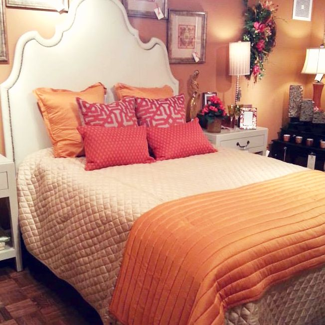 beautiful orange bedsetting at bj's home accents in in - usa