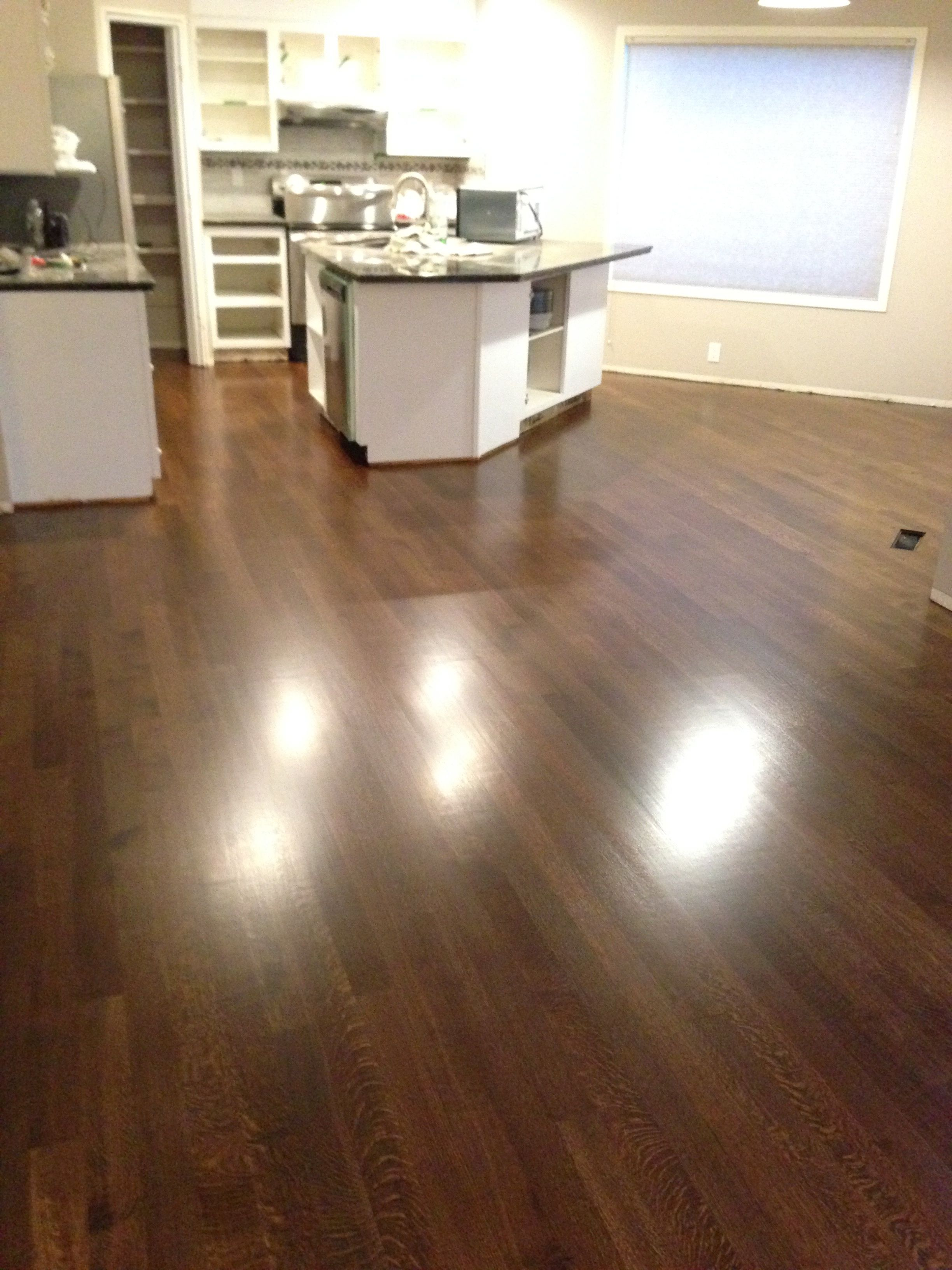 "3 1 4"" rift an quartered white oak Bona stain and Mega satin finish"