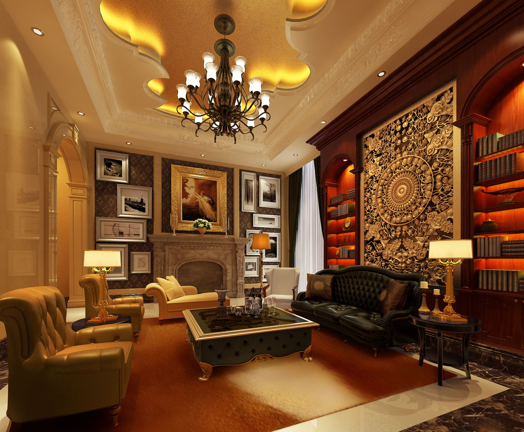 Luxury Living Room And Bedroom With Leather Sofa Set And Elegant Chandelier  Interior Design