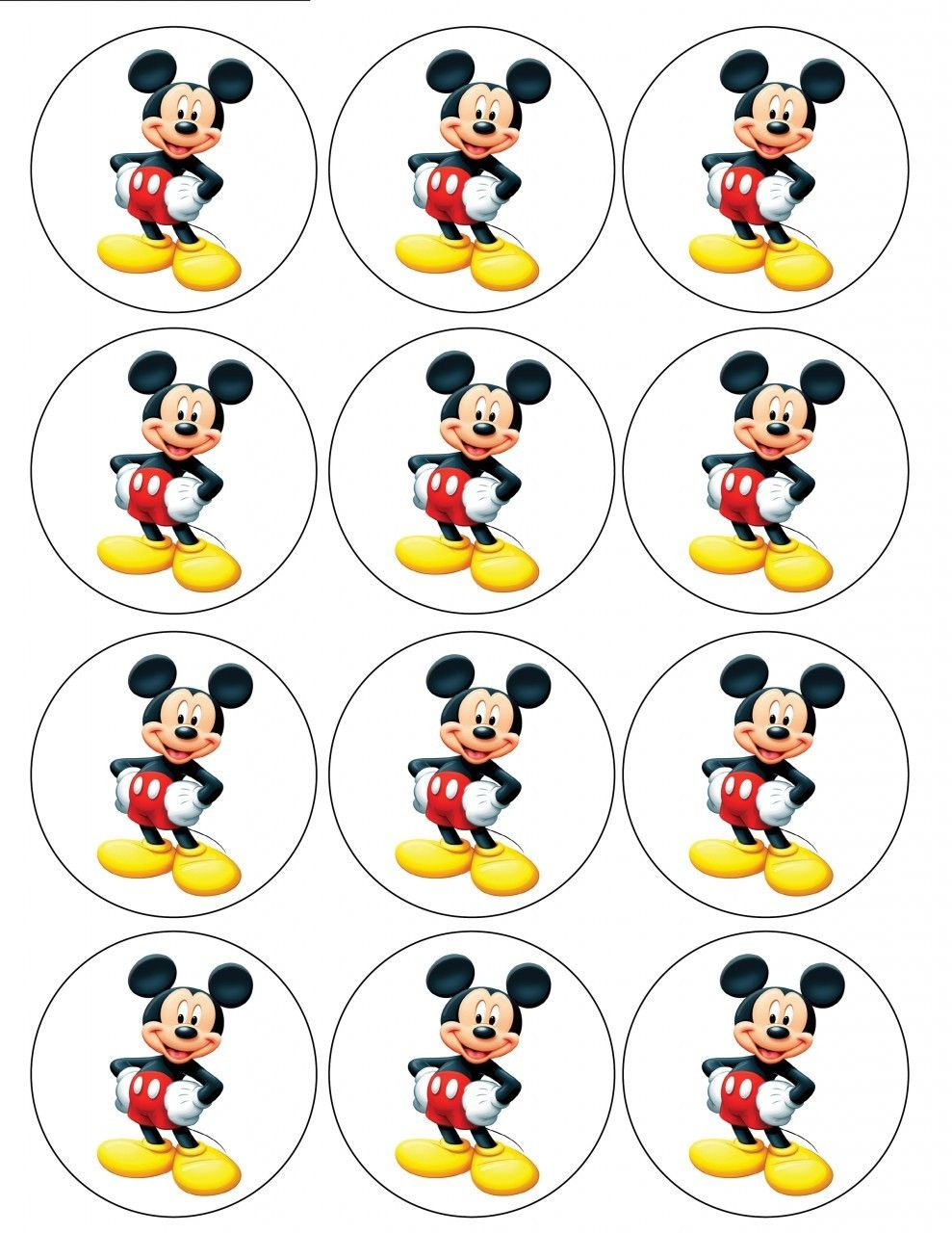 "2.5"" Mickey Mouse Cupcake Edible Icing Toppers #1 in 2019 ...Mickey Mouse Cupcake Toppers"
