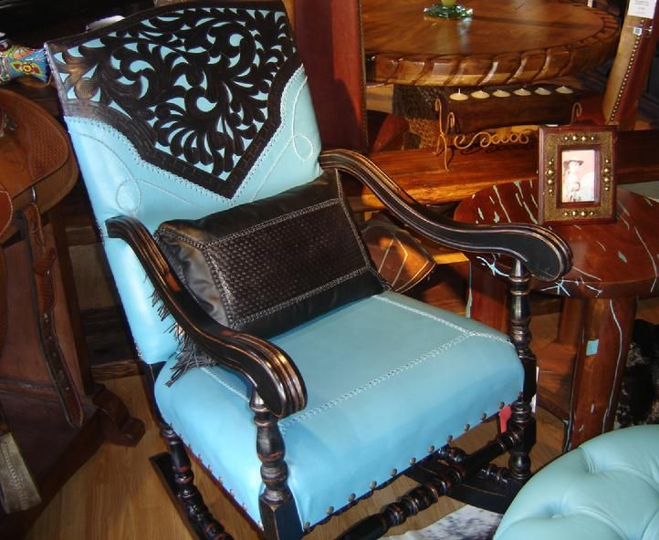 Vaquero Turquoise Rocking Chair -Rios Interiors, Fort Worth ...