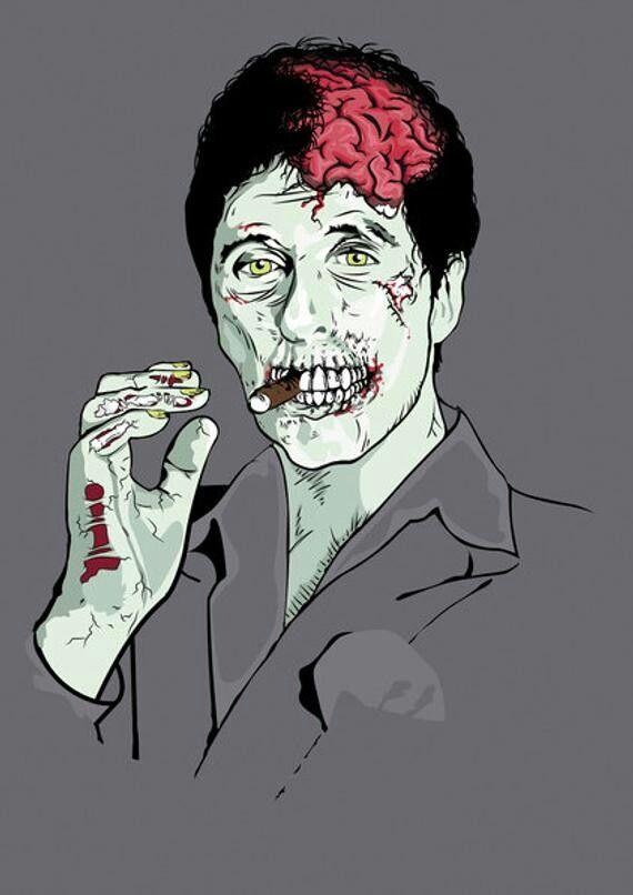 Zombie Tony Montana Al pacino, Famous monsters, Poster